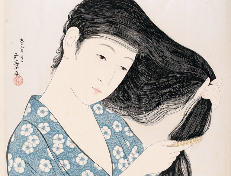 Hashiguchi_Goyo_(1880-1921),_Combing_Hair,_Japan,_1920,_Woodblock_print;HMA