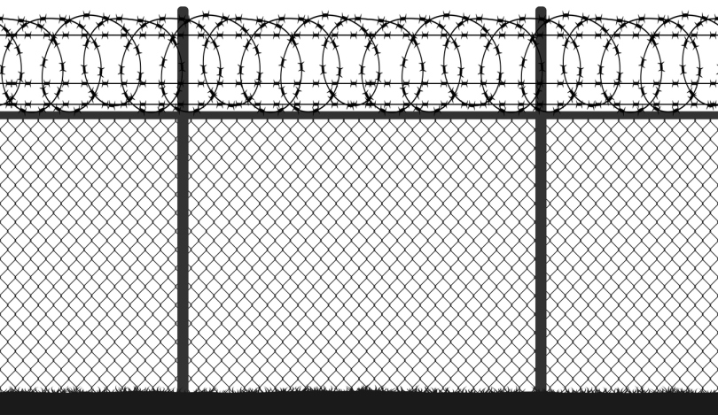 Fence wire mesh barbed wire, seamless vector silhouette